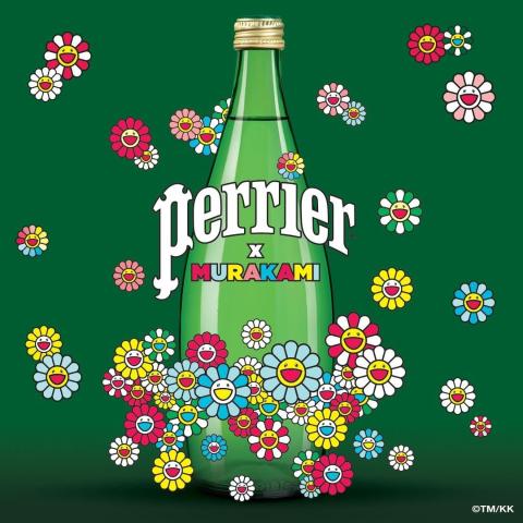 收藏版玻璃瓶 限量发售预告:Perrier巴黎水 x 村上隆艺术联名款 招牌太阳花开满瓶身