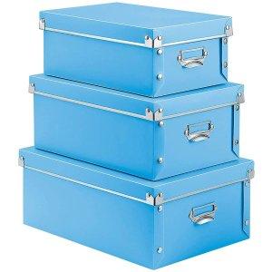 $17.99(原价$35.99)XUCHUN 徐春蓝色储物盒3件 塑料按扣固定 带盖防潮