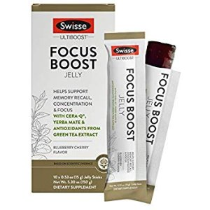 Amazon.com: Swisse Ultiboost Focus Boost Jelly Sticks, Blueberry Cherry | Supports Brain Function, Memory Recall, & Concentration | Cera-Q, Yerba Mate, & Green Tea Antioxidants | Portable Jelly Sticks | 10 Count: Health & Personal Care