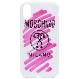 Moschinopink and white logo stroke print iPhone XS/X case
