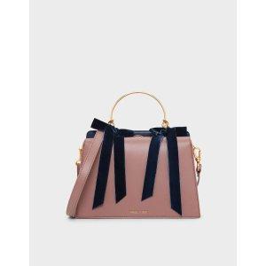 Charles & KeithMauve Velvet Bow Detail Handbag | CHARLES & KEITH US
