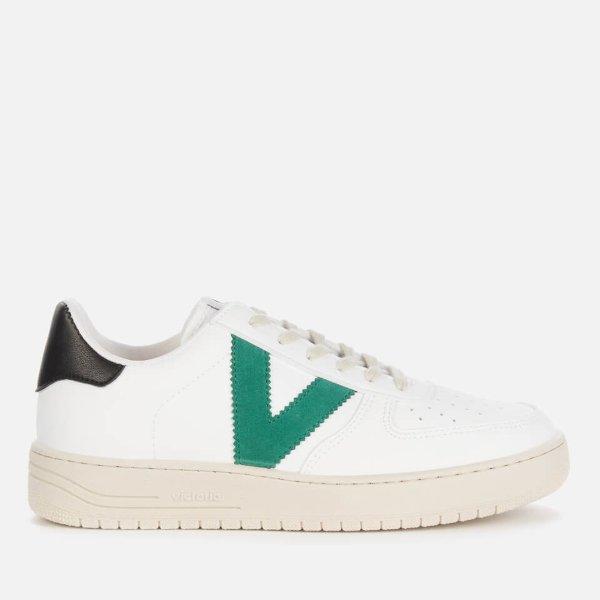 绿V字小白鞋