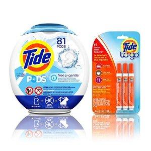 $18.87Tide 温和高效 速溶果冻洗衣球 81颗 带3支去污笔