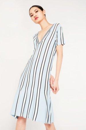 Elli White Striped Drop Hem Midi Dress