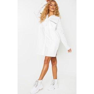 PRETTYLITTLETHING White Slogan Embroidered Pocket Shirt Dress