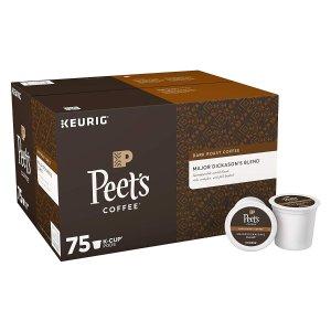 $28.24 每个仅$0.37Peet's Coffee Major Dickason's 特调深度烘焙k-cup咖啡 75个