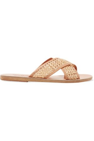 Ancient Greek Sandals Thais woven raffia and leather slides