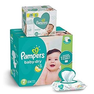 $10 offPampers Baby Dry Disposable Baby Diapers with Baby Wipes Sensitive 6X Pop-Top Packs, 336 Count