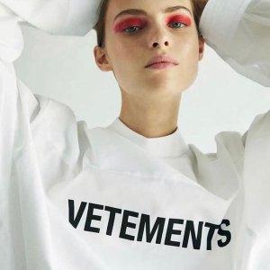 低至4.2折Vetements 法国潮牌大促 收logo卫衣、T恤