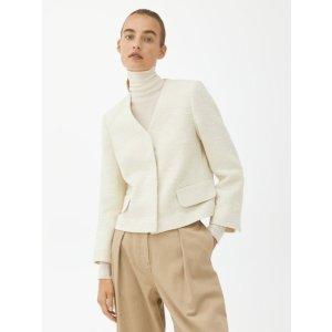arket100%纯棉白色短款外套