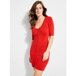Erin Lace-Front Sweater Dress at Guess