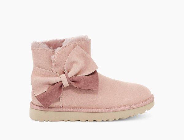 粉色迷你蝴蝶结雪地靴
