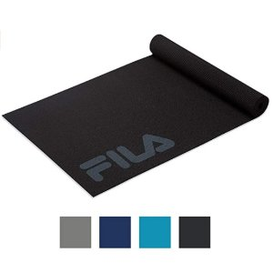 """FILA Accessories Yoga Mat - Classic Exercise Mat with Carrying Strap Sling for Yoga, Pilates, Stretching & Gym Floor Workouts (68"""" L x 24"""" W x 5mm Thick)"""