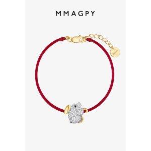 mmagpy2020本命红生肖款钱钱鼠红绳手链 925银镀 18K金