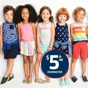 $5起+双倍积分 搭配一身$10搞定OshKosh BGosh官网 T恤、背心、短裤、短裙等Doorbuster特卖