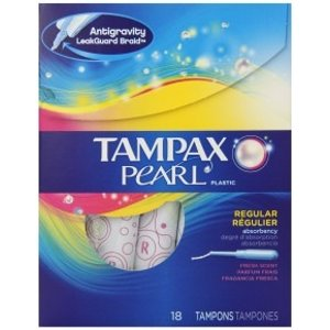 Tampax Pearl Tampons, Plastic, Regular Absorbency, Fresh Scent, 18 tampons