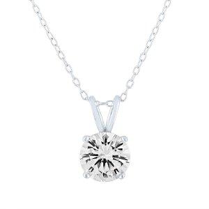 Moretti's Fine Jewelry人工白色蓝宝石纯银吊坠项链