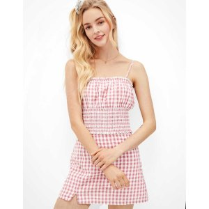 aerieAE Gingham Notched Mini Skirt