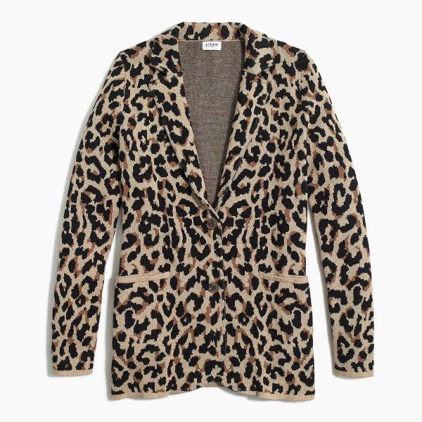 豹纹毛衣西装外套