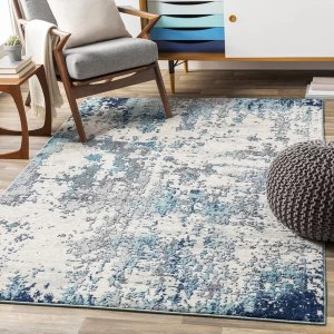 Corey Distressed Abstract Navy/Aqua Area Rug