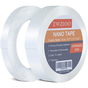 Nano Double Sided Tape, Multipurpose Removable Sticky Tape Heavy Duty, Transparent Gel Grip Mounting Tape Washable Strong Adhesive Tape for Carpet Photo Poster Car Christmas Decor (2 Rolls Total 20FT)