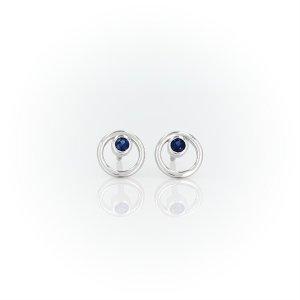 Blue NilePetite Open Circle Sapphire Birthstone Earrings in 14k White Gold (2mm) | Blue Nile
