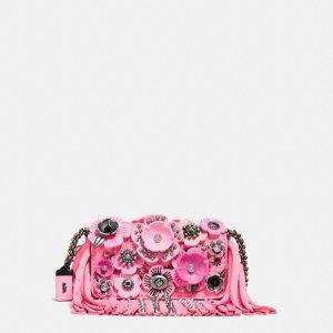 COACH: Dinkier 流苏粉色浮雕花朵包包