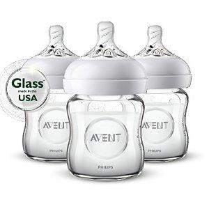 PhilipsBPA FREE 4oz容量玻璃奶瓶3个装