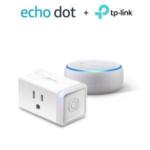 $49.98(原价$94.97)史低价:Echo Dot + TP-Link 智能插头 一切你说了算