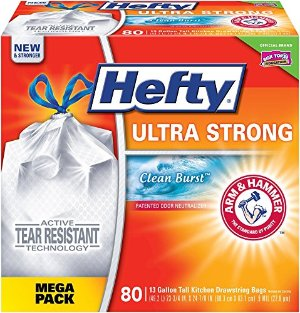 $9.08 + Free ShippingHefty Ultra Strong Trash Bags, 13 Gallon, 80 Count