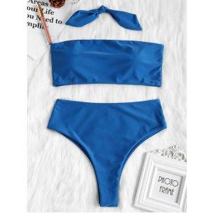 ZafulHigh Cut Convertible Bandeau Bikini Set