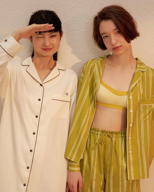 童瑶同款 撞色刺绣衬衫式睡衣