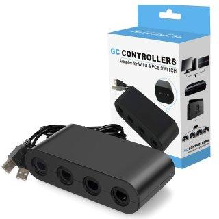 $5.49(原价$19.99) 包邮Gamecube 手柄一拖四适配器 适用于Switch, Wii U & PC