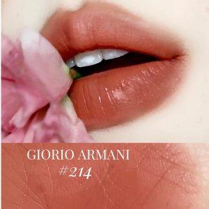 $50+包邮 断货快速抢上新:Armani Beauty 红管唇釉#214有货 某书爆红甜茶奶杏