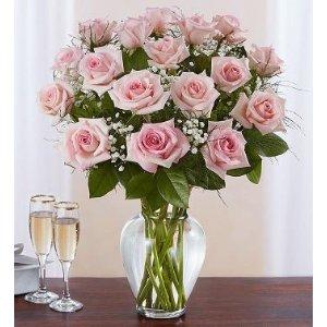 12/18朵可选,带花瓶12朵长茎粉玫瑰