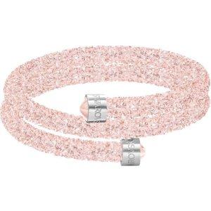 SwarovskiCrystaldust Double Bangle, Pink, Stainless steel by SWAROVSKI