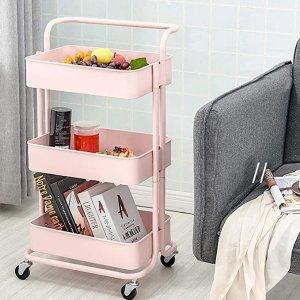 粉色三层置物推车