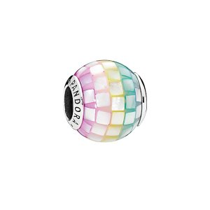 PandoraSilver Mother-of-Pearl Multi-Color Mosaic Charm
