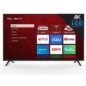 $448.00TCL 65吋 4K超高清 HDR 智能电视,内置Roku系统