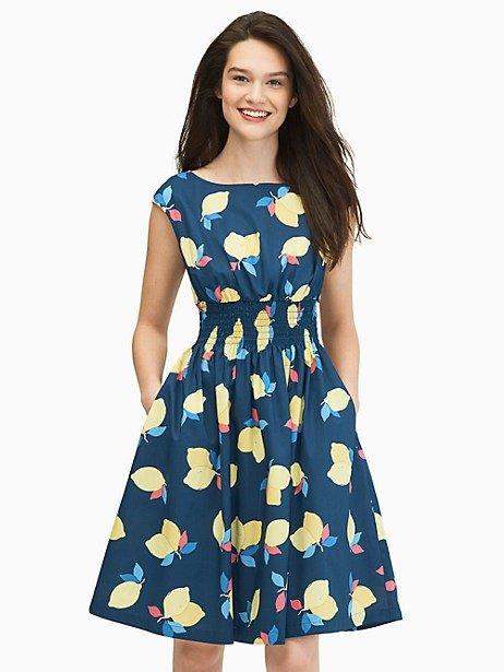 柠檬印花连衣裙