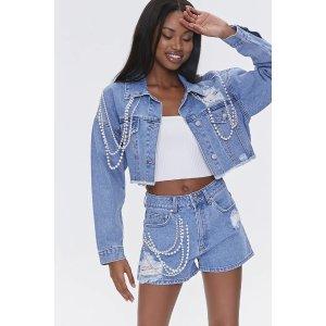 Forever21珍珠牛仔裤