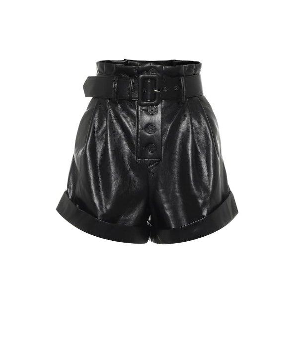 黑色皮质短裤