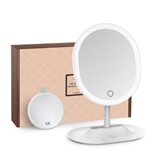 $15Makeup Mirror Rechargeable LED Lighted with 1X/5 X Magnification, Anjou USB Rechargeable Vanity Mirror Touchscreen Dimmable LED Light for Countertop Cosmetic Makeup