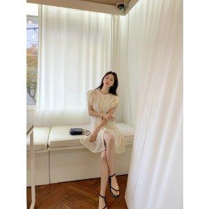 Flutter Sleeve High-Waist Button-Front Dress
