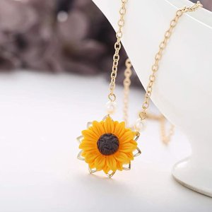 $5.29 (原价$10.98)DIDA 向日葵小珍珠项链特卖 阳光美少女必备