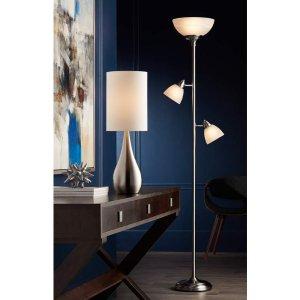 Ellery Brushed Nickel Tree Torchiere 3 Light Floor Lamp - #1Y326 | Lamps Plus