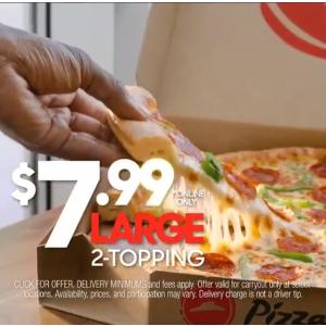 现仅$7.99Pizza Hut 网上披萨限时大促 大号2-topping 披萨