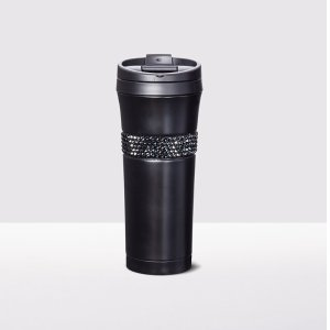 $37Stainless Steel Tumbler adorned with Swarovski crystals - Black