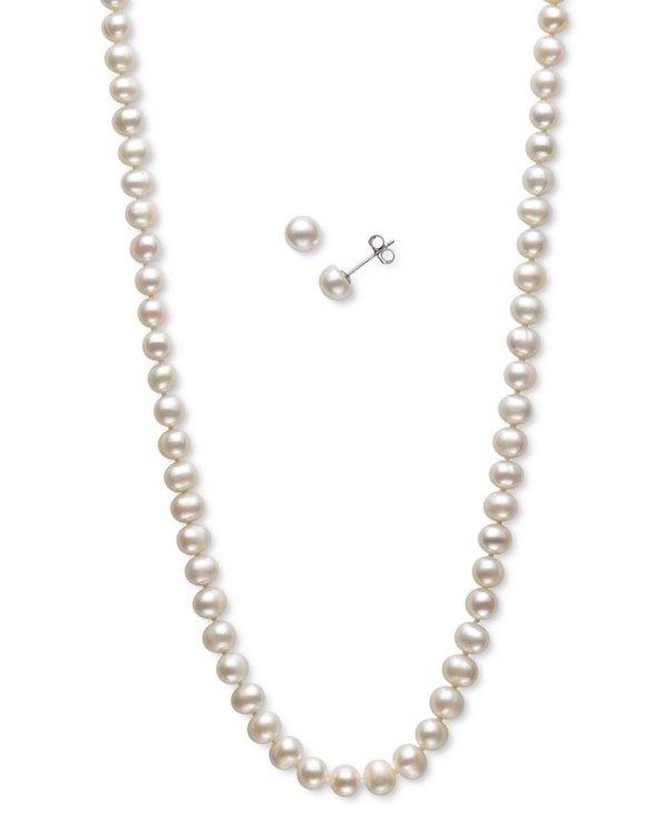 珍珠项链+耳钉3件套