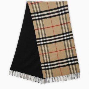 Burberry100%羊绒!格纹双面围巾